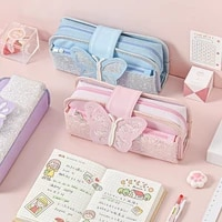 girl large capacity pencil case fashion canvas stationery bag multifunction butterfly sequins stationery box pencil bag
