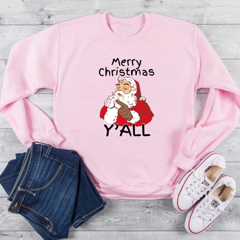 Grunge tumblr camisola topos papai noel yall all feliz natal gráfico feriado presente feminino casual hoodies mulher
