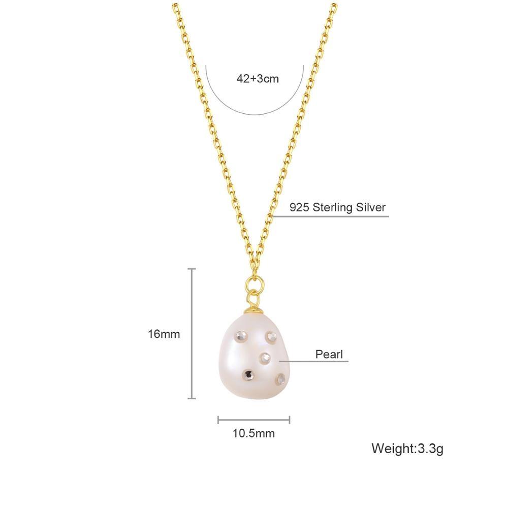Dorado 925 Plata de Ley collares de perlas de agua dulce colgante collar cadena de oro para mujeres señoras joyería de moda mejor vendedor