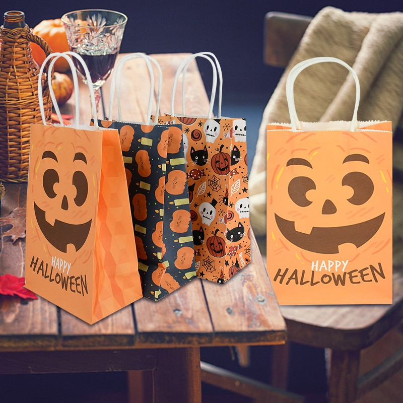 5pcs Halloween Gift Paper Bags Pumpkin Ghost Portable Candy Bag Happy Halloween Favors Holiday Party