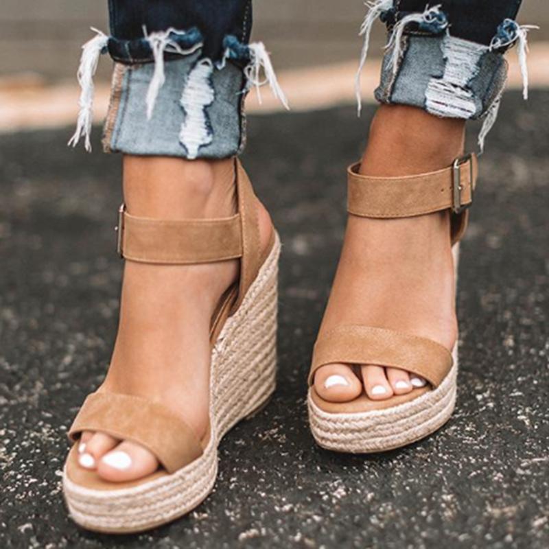 ADIBOSY Donne Sandali Con Zeppa di Modo di Alta Tacco Donne Più di Formato Sandali Scarpe Casual Estate Scarpe Donna Tacchi Alti Sandali 2020