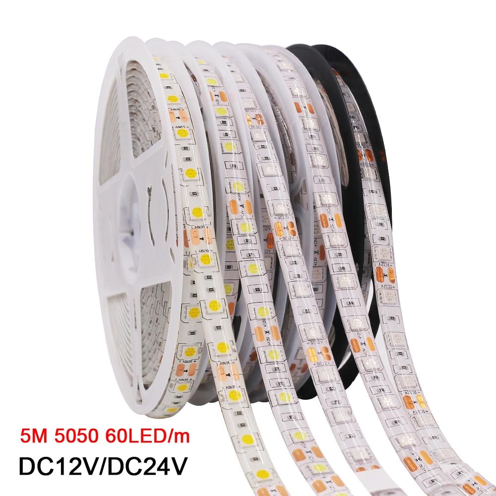 Bande de LED 5050 rvb CCT RGBCCT RGBW RGBWW lumières 12V 24V étanche 5M 300LED blanc bleu chaud blanc LED bande lumières flexibles