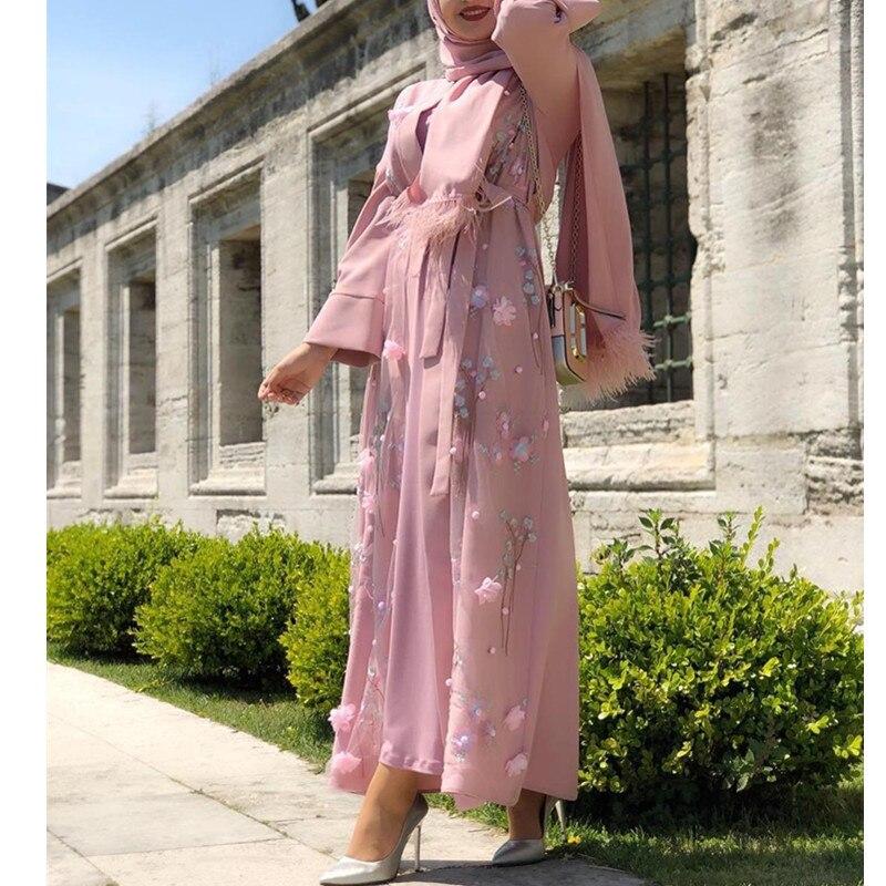 عباية كيمونو مسلم كارديجان حجاب فستان تركي ملابس إسلامية عبايات للنساء قفطان دبي قفطان عمان رداء الجلابة 2021