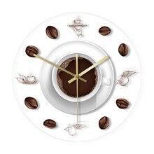 Horloge murale en forme De café   Montre murale, avec rétro-éclairage, grains De café, Design moderne café tasse De café, Reloj De Pared cuisine, montre murale en acrylique