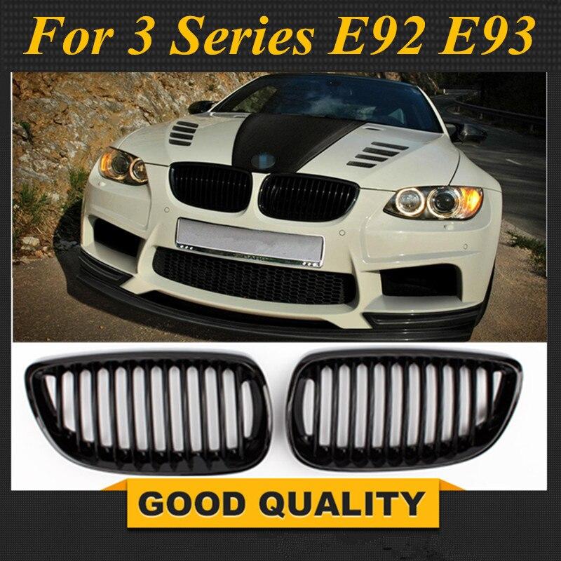 Freies Verschiffen 2006-2009 für BMW E92 E93 Pre Facelift 3 Serie Coupe M3 Glanz Schwarz Front Niere Twin Flossen grill grille