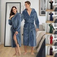 puimentiua men winter extra long warm flannel bathrobe plus size coral fleece robes long sleeve bath robe pijama women sleepwear