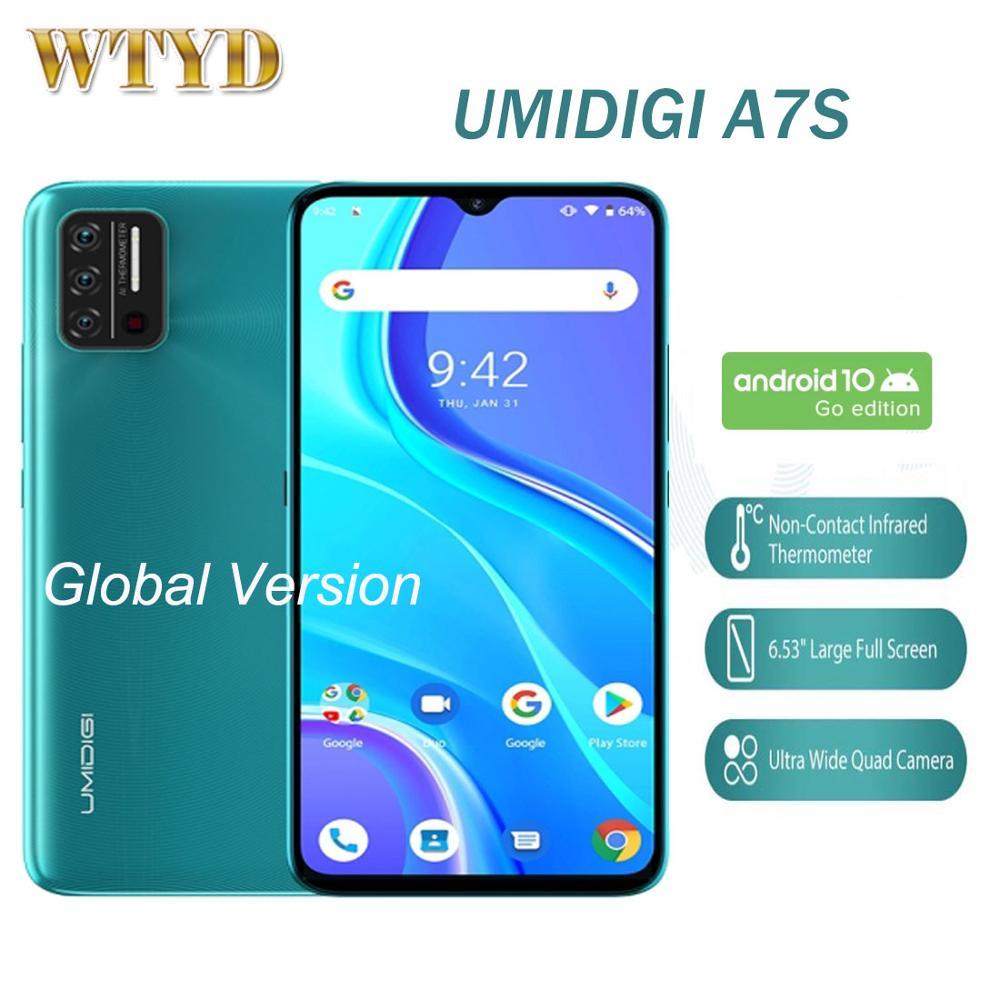 """Umidigi a7s 6.53 """"tela cheia 2gb 32gb versão global 4g celular 4150mah rosto desbloquear sensor de temperatura infravermelho smartphone"""