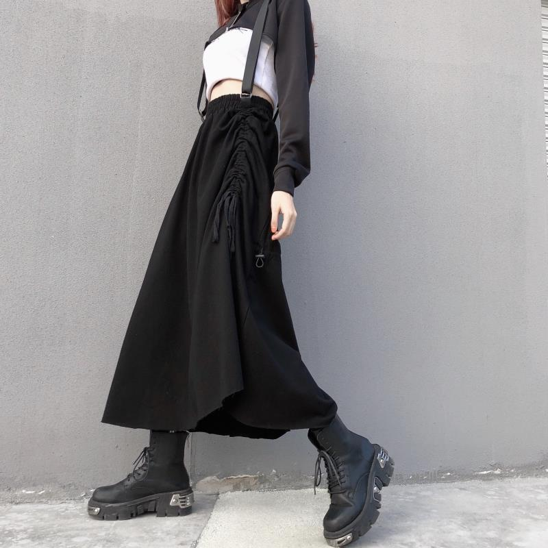 Black gothic long skirt female autumn street wear Y2k skirt pleated half Harajuku stretched wide loose Korean skirt 2021
