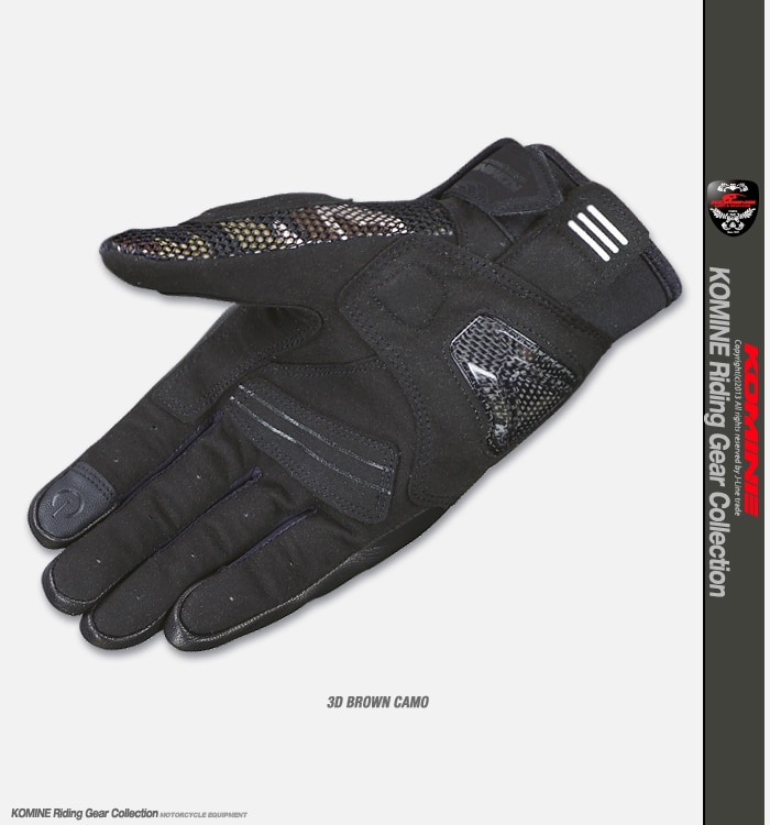 Komine GK-197 GK 197 Carbon Protect 3D Mesh Gloves Cycling Glove Motocross MTB Bike Off Road Moto Brown Camo Gloves enlarge