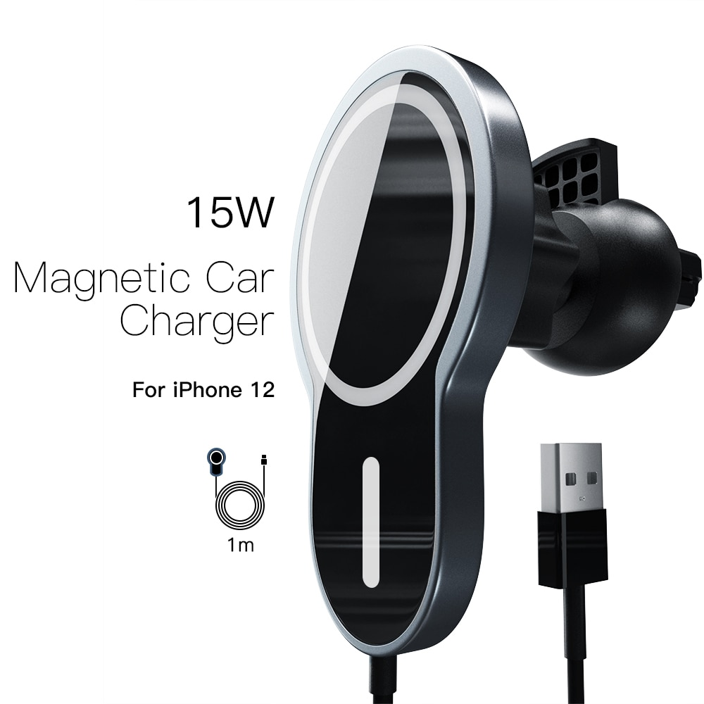 Magnetic Wireless Car Charger, Qi-Certified 15W Fast Charging Air Vent Phone Holder Mount for iPhone