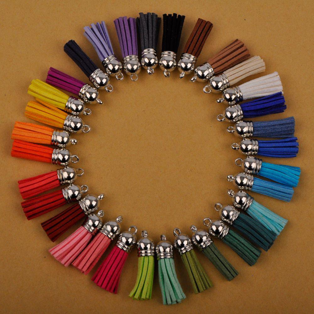 200pcs 38mm Leather Tassel For Keychain Cellphone Straps Jewelry Fiber Fringe Suede Tassel DIY Pendant Summer Jewelry Findings