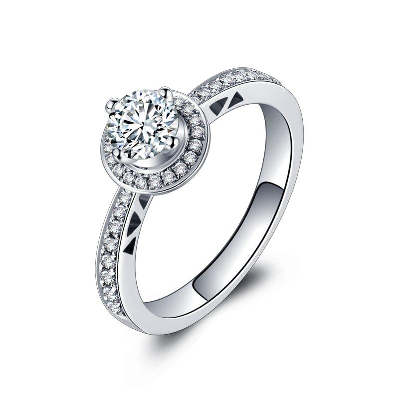 Genuine 1 Carat 18k Diamond Ring Platinum Rose Gold Wedding Seeking Couple Diamond Ring