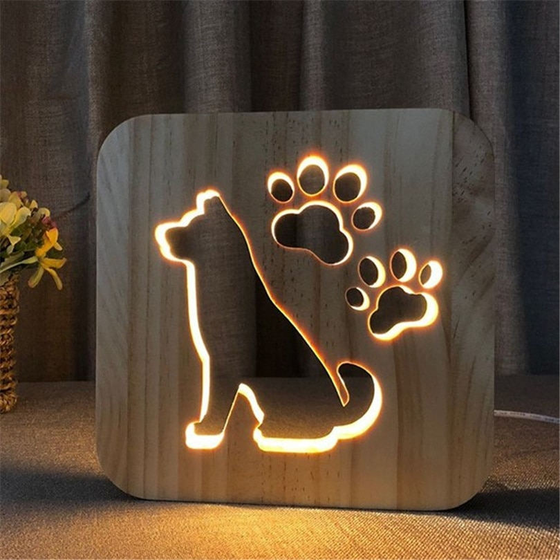 Lámpara de Mesita de Noche para perro, luz LED cálida de madera...