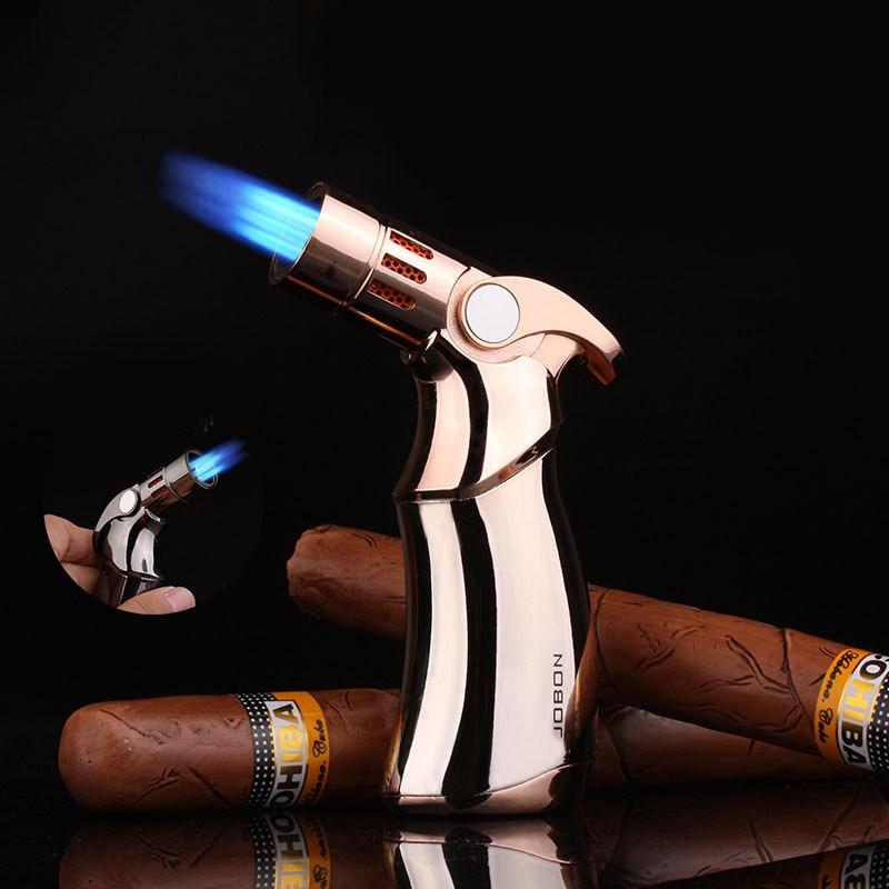 Cohiba mismo Jobon potente antorcha Triple encendedor de cigarros tubo Jet Turbo BBQ encendedor de butano a prueba de viento pistola de aerosol encendedor de Gas de Metal