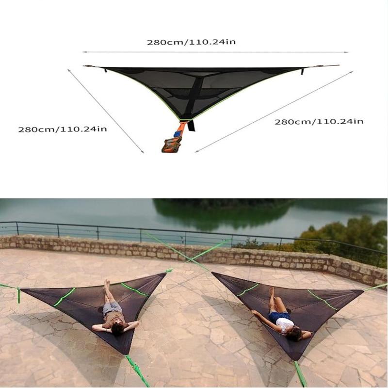 مثلث أرجوحة 3 نقاط كبيرة متعددة شخص أرجوحة مثلث الجوي حصيرة في الهواء الطلق المحمولة سرير تخييم بيت شجرة الهواء السماء خيمة