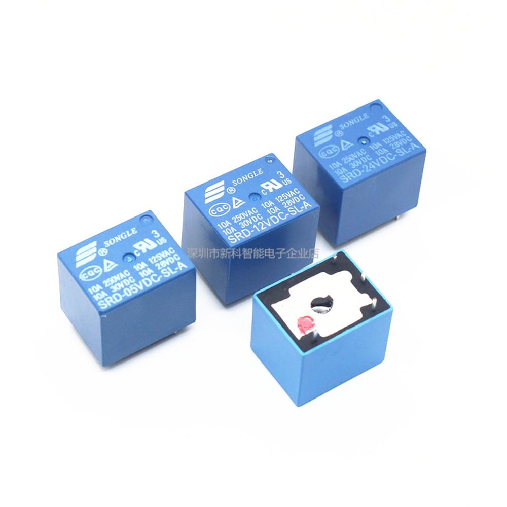 5 шт./лот, реле SRD-05VDC-SL-A, SRD-12VDC-SL-A, SRD-24VDC-SL-A, 05 в, 12 В, 24 В, 48 В, 10 А, 250 В переменного тока, 4PIN, T73