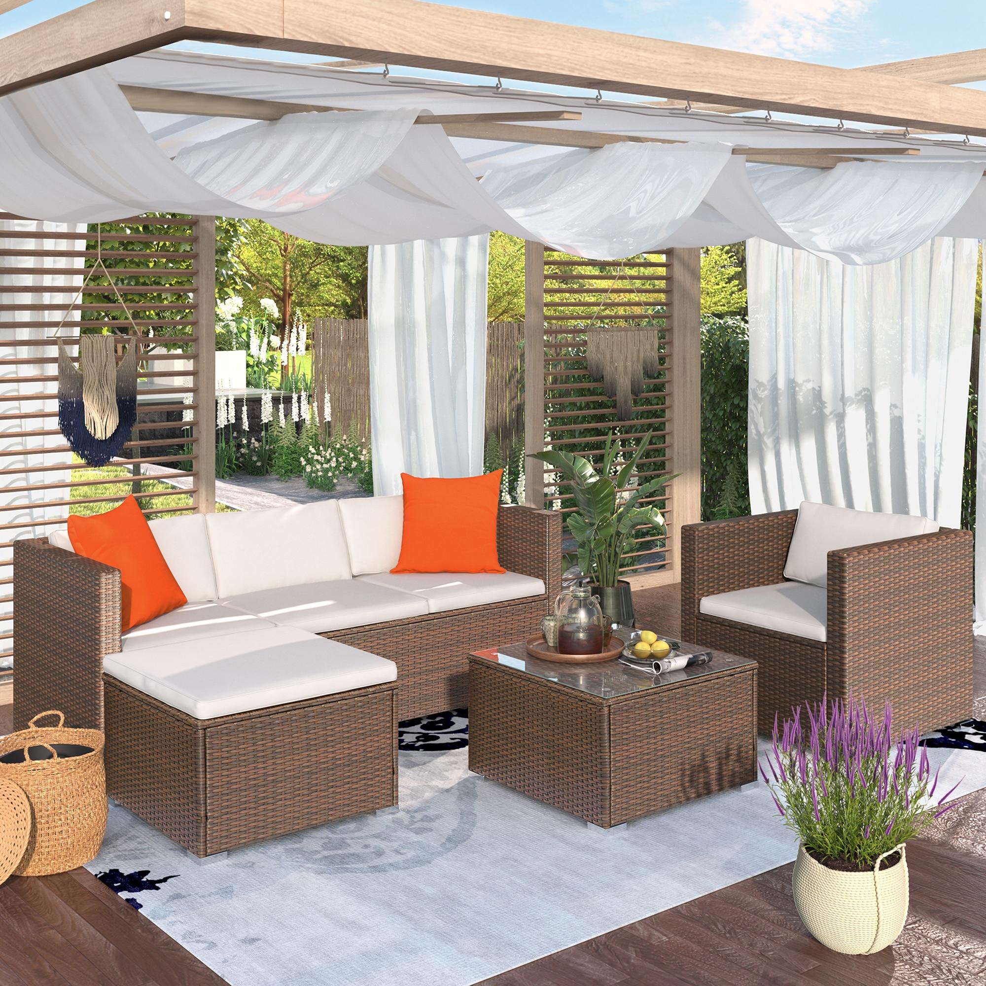 Современный секционный набор диванов для улицы, Плетеный комплект мебели для патио, мягкие садовые наборы, Прямая поставка, современный