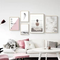 Peinture sur toile avec plumes  affiche nordique imprimee  decoration de maison  moderne  mode  chambre de fille  tableau dart mural pour salon