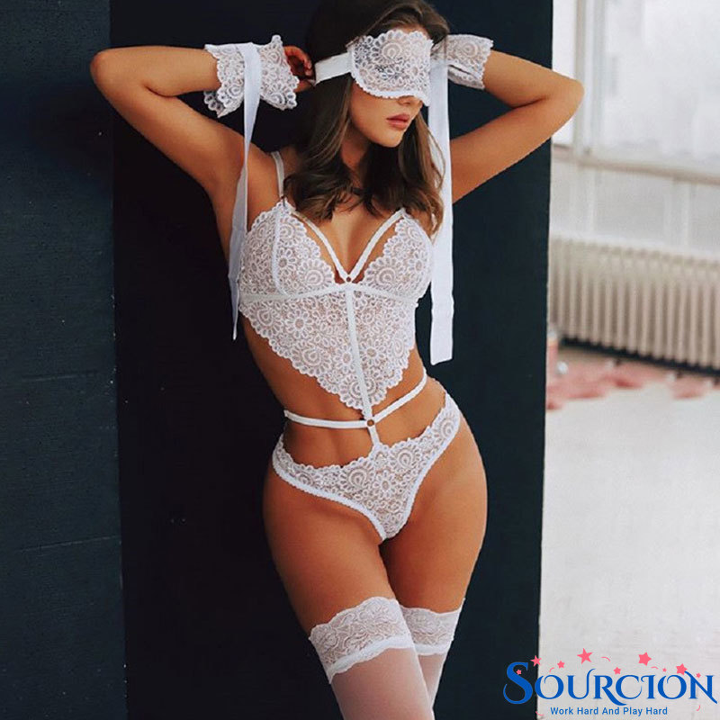 Sourcion S-XL Sexy Underwear Woman Lingerie Erotic Apparel Sexi Porno Lace Bra Set Sleepwear Plus Si