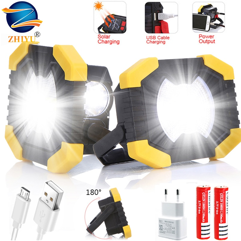 20w cob led spotlights powerful usb 18650 led work light rechargeable lampe led flashlight waterproof for outdoor camping lights 100W Led Portable Floodlight Rechargeable Super Bright Led Work Light for Outdoor Camping Lampe Led Flashlight Use 18650 Battery