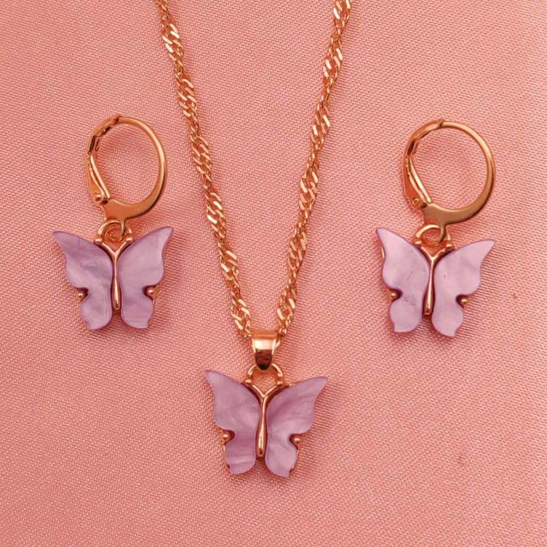 2 teile/satz Ästhetischen Schmetterling Geometrische Halskette für Frauen Romantische Insekt Halsketten Boho Schmuck Mädchen Party New Collares Collier