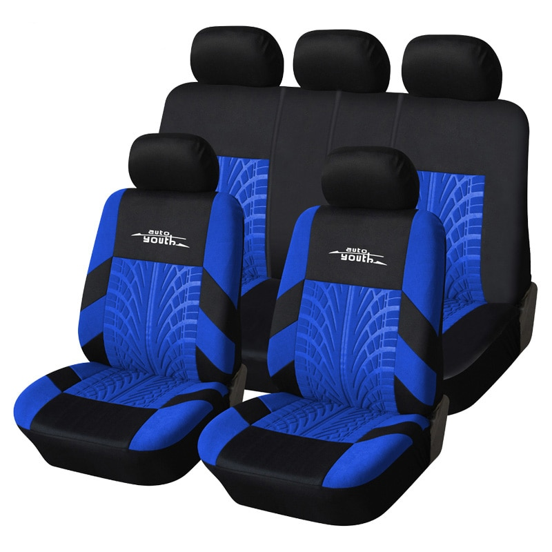 AUTOYOUTH 3 Colour Track Detail Style Car Seat Covers Set Polyester Fabric Universal Fits Most Cars
