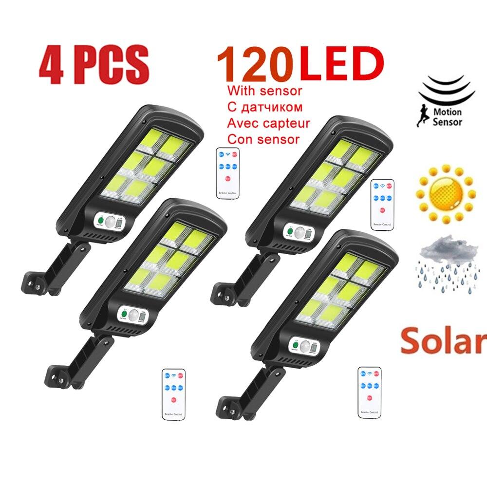 4 قطعة 120 LED أضواء الشمسية الطاقة حساسات الحركة الشمسية في الهواء الطلق ضوء ، تعمل بالطاقة الشمسية اللاسلكية مقاوم للماء الخارجي الأمن الجدار ...