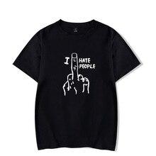 2019 nuevo algodón moda divertida I Hate People impresiones hombres mujeres manga corta Camisetas ropa de moda envío gratis