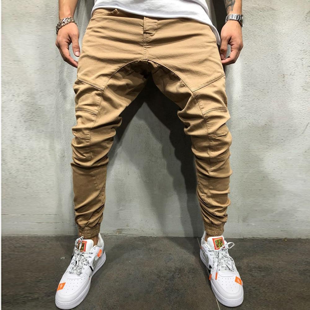 Брюки мужские с несколькими карманами, модные джоггеры-султанки, брюки, мужские джоггеры, однотонные спортивные штаны, большие размеры, 2021