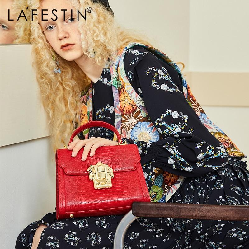 LA FESTIN Designer Serpentine Lock Handbag Split Leather Bag 2020 Fashion Women Bags Shoulder Luxury brands Bag bolsa