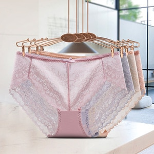 European and American Sexy Lace Mesh Women's Briefs Low Waist Transparent Bow Ladies Underwear Refreshing Fashion Panties Girl