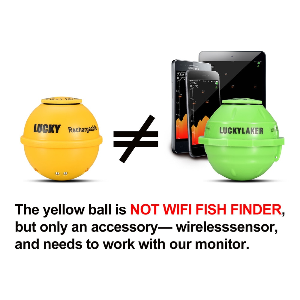 Fishing Fishing Wireless Finder Depth Fish Portable Echo for Rechargeable Sonar Sounder LUCKY Water 45M Finder FF1108-1CWLA Wire enlarge