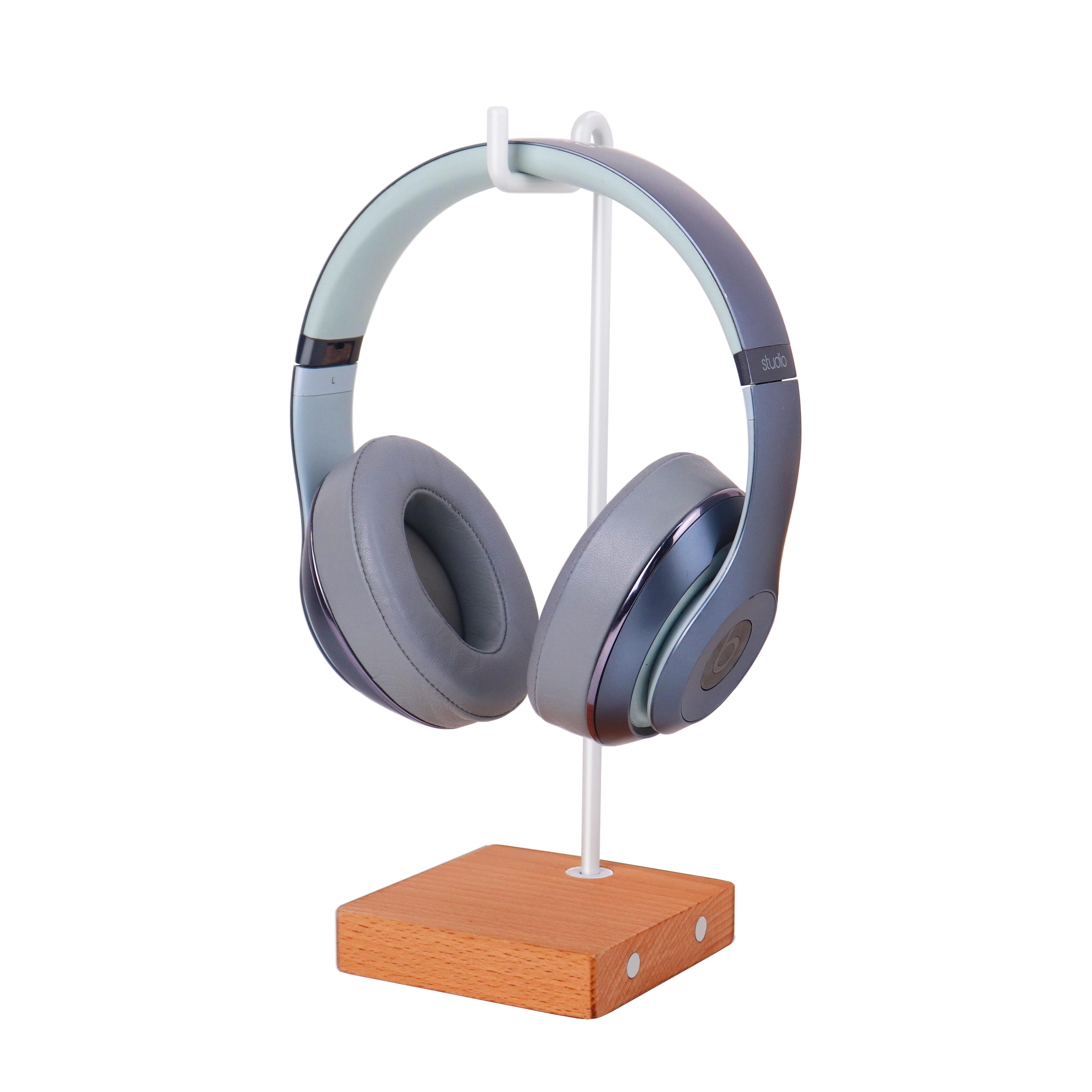 Wooden Headphone Desktop Stand Simple Display Wood Earphones Holder PC Monitor Wall Hook Desktop Mou