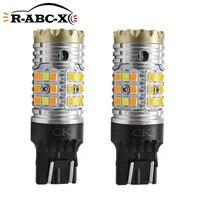 2pcs 12 24v 24w t20 7443 srck led dual color turn signal light auto drl lamp canbus no hype flash w215w led switchback