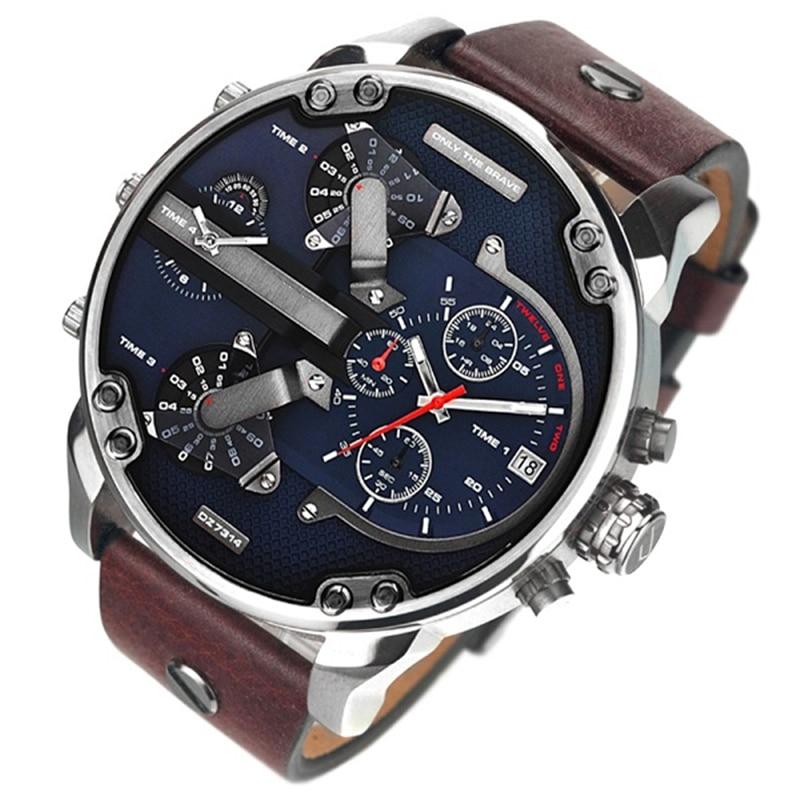 Luxury brand DZ 7314 men's watch fashion style dress wristwatches leather strap quartz dual movement