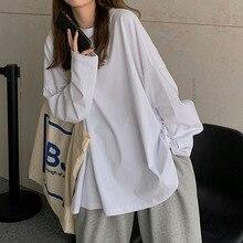 White Slit Long-sleeved T-shirt Women's Spring And Autumn 2021 New Korean Loose Bottoming Shirt Soli