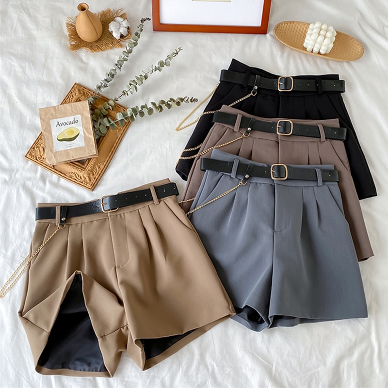 2021 High Waist Thin A-line Suit Shorts Female Wide Legged Korean Style Casual New Short Pants Women