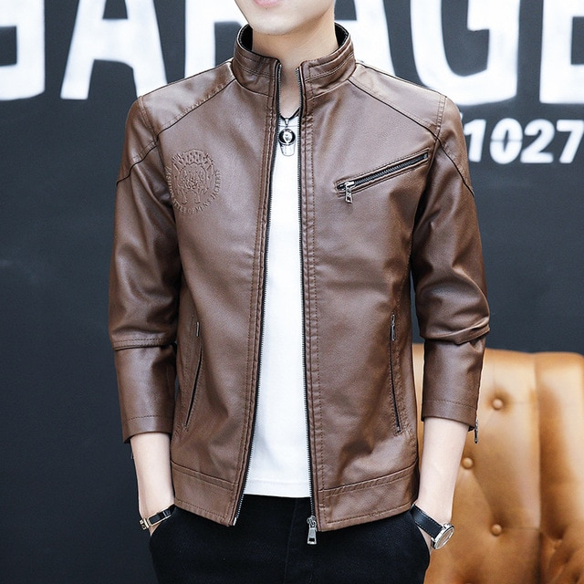 New Spring and Autumn Zipper-Pockets Jacket 2020 Men's Korean Version Slim-fitting Stand-up PU Leather Jacket