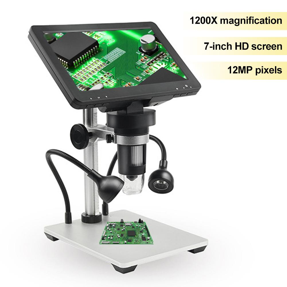 مجهر رقمي عالي الدقة مقاس 7 بوصات مجهر تكبير 1200X مناسب لتدريس لوحات الدوائر مراقبة التحف