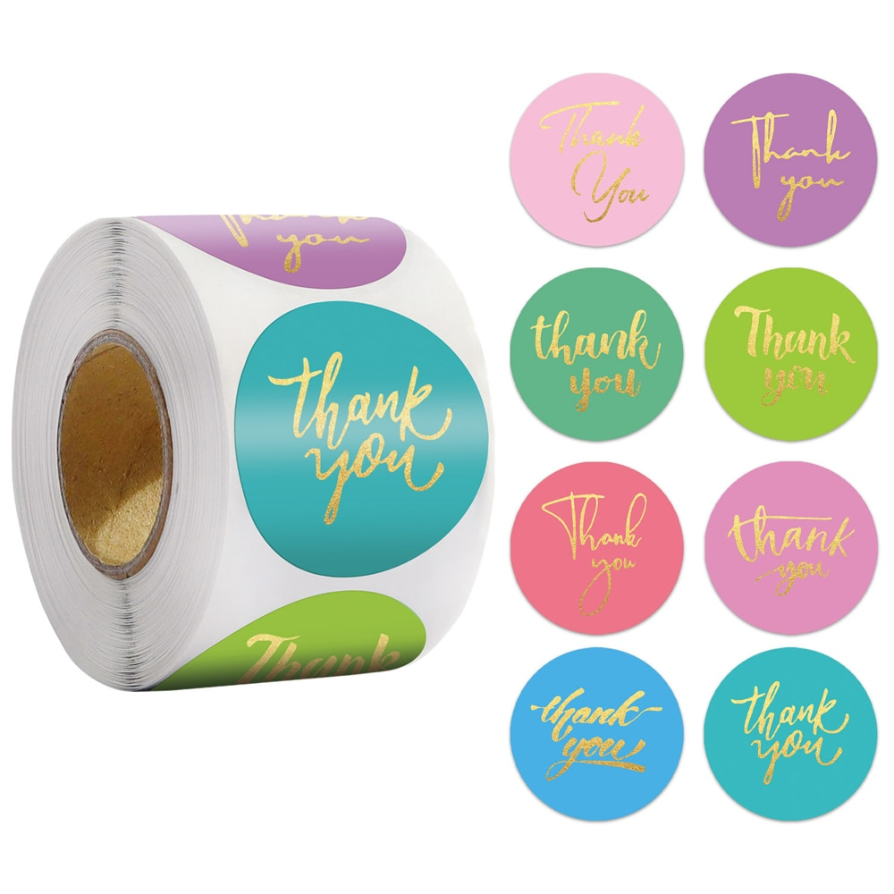 1 Inch Thank You Adhesive Stickers 50-500pcs Wedding Party Favors Envelope Mailing Supply Packaging Sealing Stationery Sticker