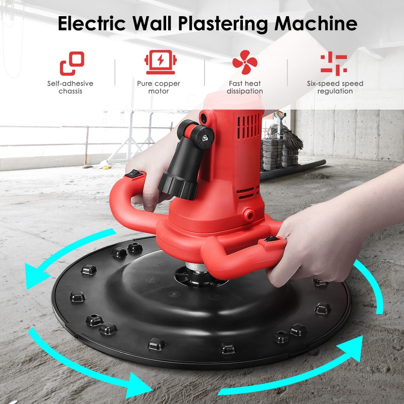 2 In 1 Red Wall Smoothing Cement Mortar Mixer Ergonomic Handles Six Speed Adjustable For Usines Entreprises