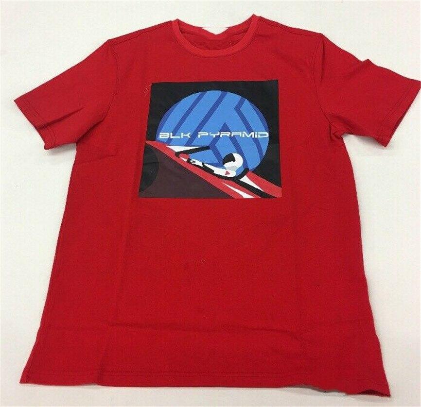 Camiseta negra piramide espacio rojo Surfer Camiseta talla grande para hombre