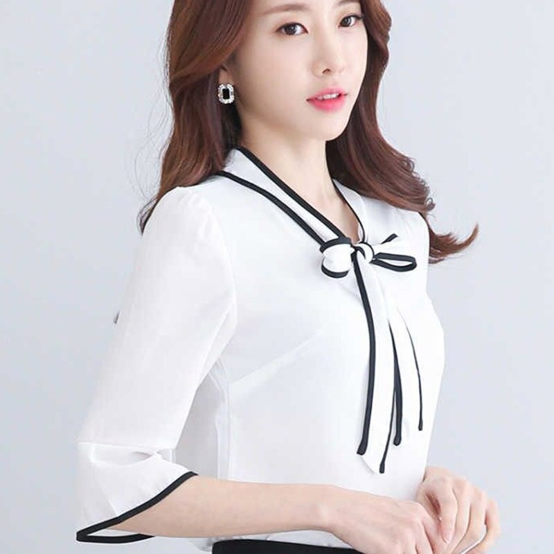 Moda mujer primavera verano estilo blusas Mujer pantalón corto casual manga arco encaje camisas elegante señora ropa blusas Tops DF3308