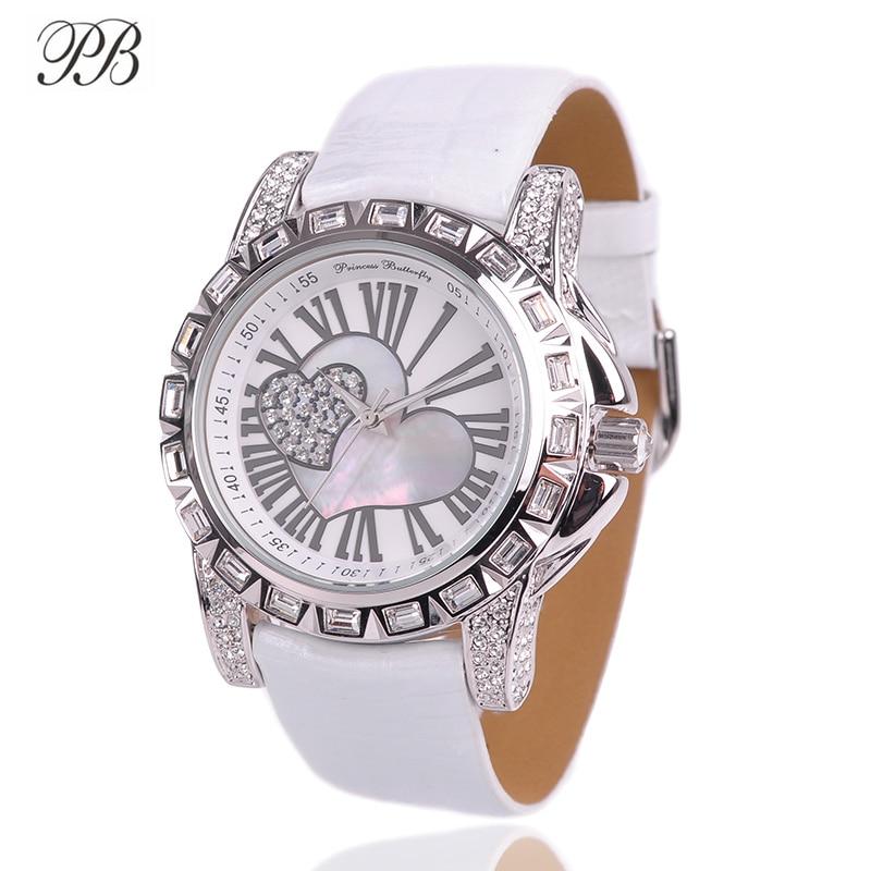 Love Heart-Shaped Women Watches PB Crystal Watch Fashion Montre Femme Genuine Leather Strap Quartz