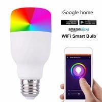 Ampoule LED WiFi intelligente E27 B22  lampe a intensite variable RGBW coloree  domotique  fonctionne avec Google Home Mini Alexa
