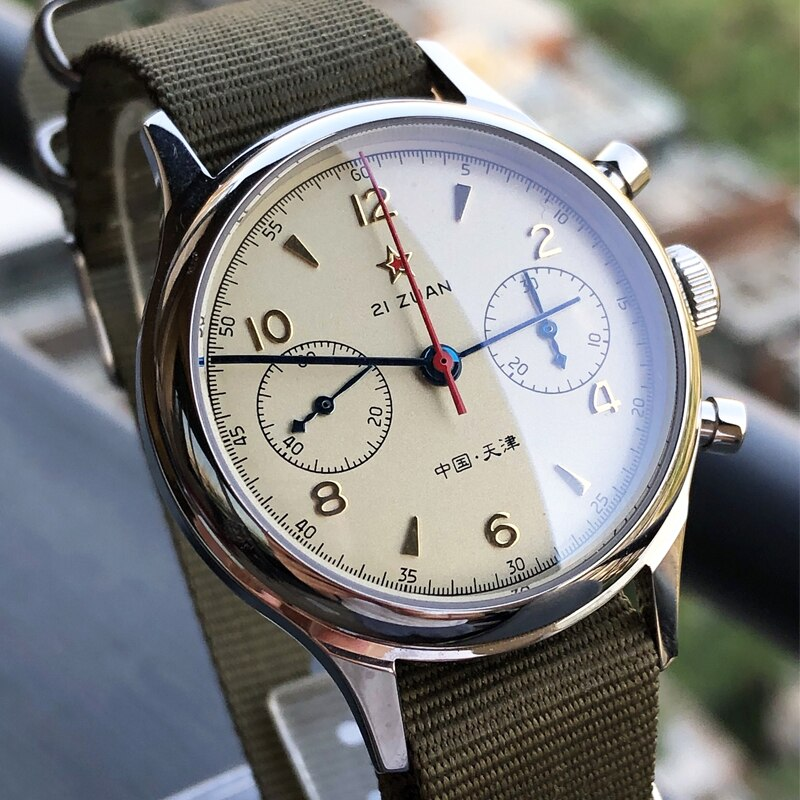 Pilot Hand Winding Mechanical Seagull Movement 1963 Chronograph Mens Watch Sapphire Military Fashion