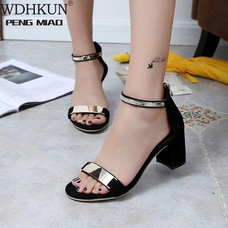 Nuevo verano hueco Sandalias de las mujeres Mujer negro Zapatos de Mujer...