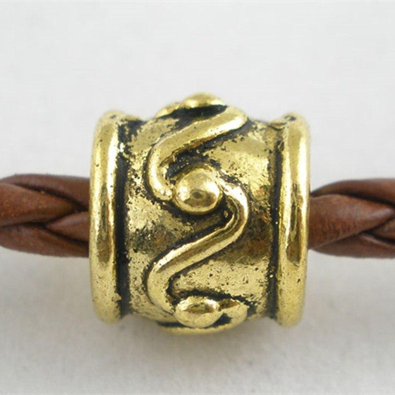 Amuletos de tambor de tono de oro antiguo espaciadores europeos cuentas se ajustan a collares y pulseras fabricación de joyas 8x9mm