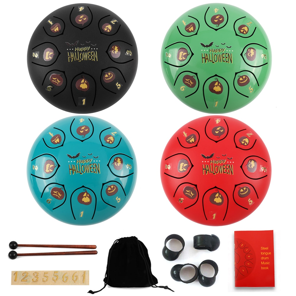 The Latest 8 Tone 6 Inch Steel Tongue Drum Percussion Kit Halloween Theme Pumpkin Pattern Tongue Drum w/ Mallets Storage Bag