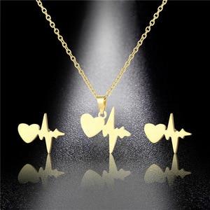 Stainless Steel Heart Wave Ecg Heartbeat Cardiogram Pendant Chain Necklace Sets Choker For Women Collier Femme Nurse Jewelry